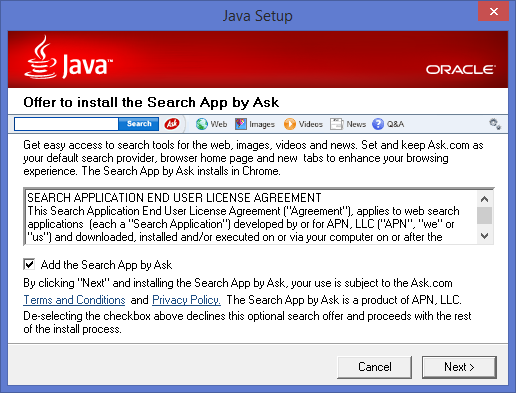 Ask Toolbar: Nothing to do With Java